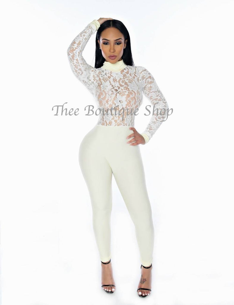 The Mirage Lace Illusions Jumpsuit (Creme)