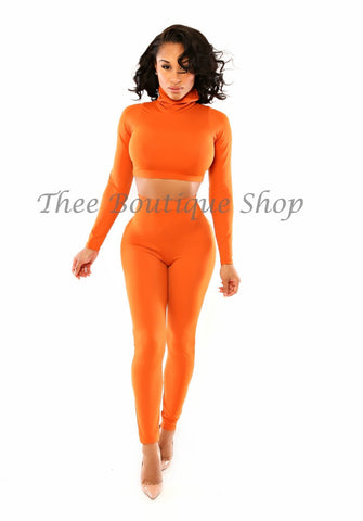 The Classic Turtle Neck Leggings Set (Orange)