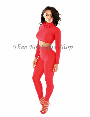 The Classic Turtle Neck Leggings Set (Red)