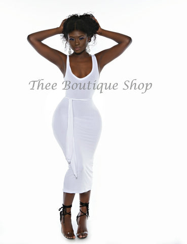 The Classic Midi Tank Dress (White)