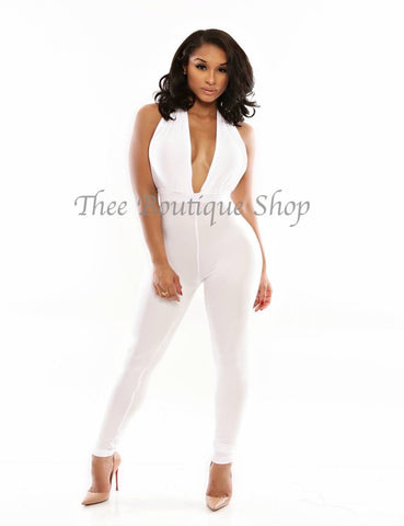 The Classic Spring Halter Jumpsuit (White)