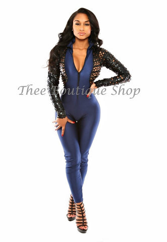 The Bombshell Xtreme Body-Con Jumpsuit (Navy)