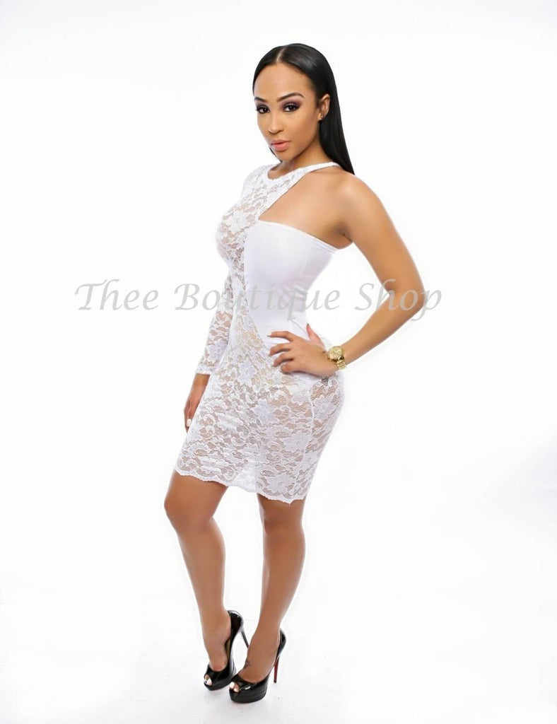 The Versailles Chantilly Lace Dress (White)