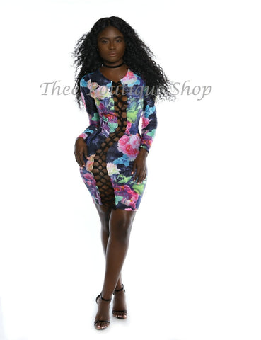 The Flora Mirage Lace Up Body-Con Dress