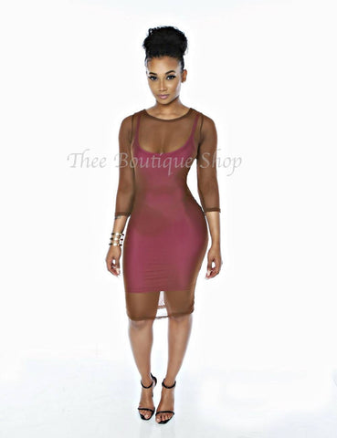 The Spring Double Mesh Dress (Cocoa/Raspberry)