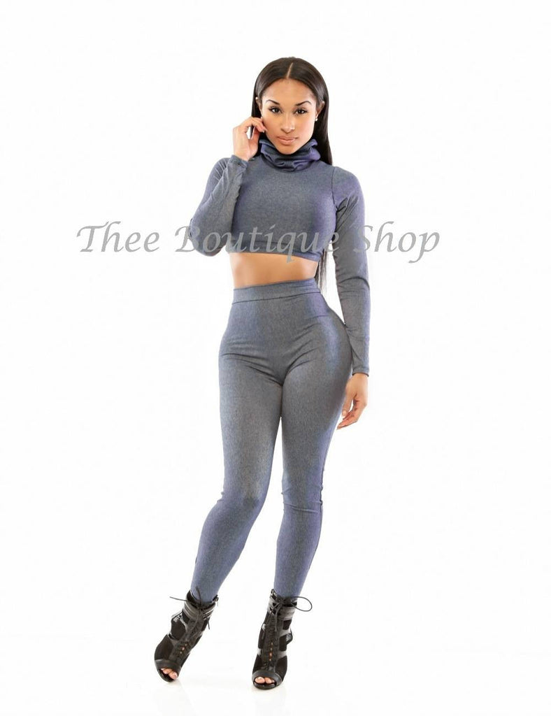 The Classic Exaggerated Collar Leggings Set (Denim) - Thee Boutique Shop