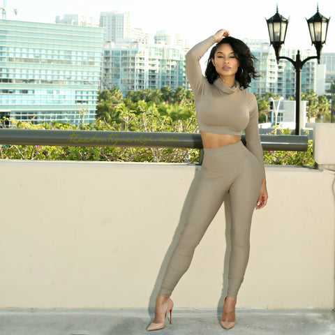 The Classic Turtle Neck Leggings Set (Cement)