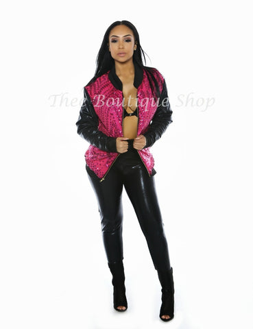 The Hollywood Bomber Jacket Set (Fuchsia)