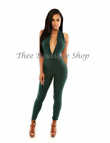 The Classic Spring Halter Jumpsuit (Forest Green)