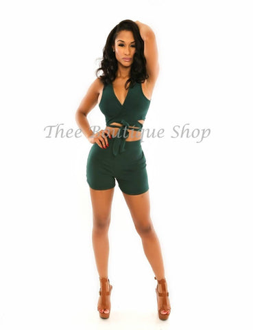 The Classic Summer Wrap Shorts Set (Forest Green)