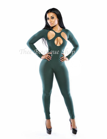 The Forbidden Body-Con Jumpsuit (Forest Green)
