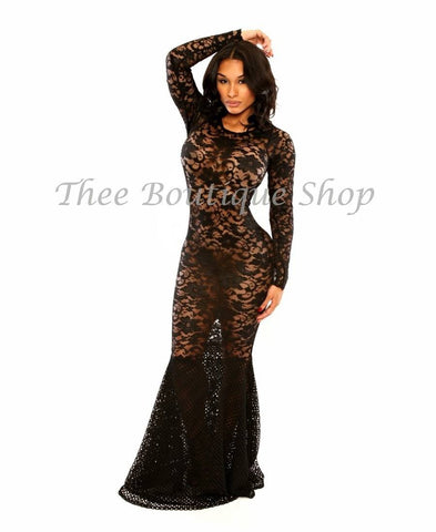 The Lace Fusions Mermaid Dress (Noir)