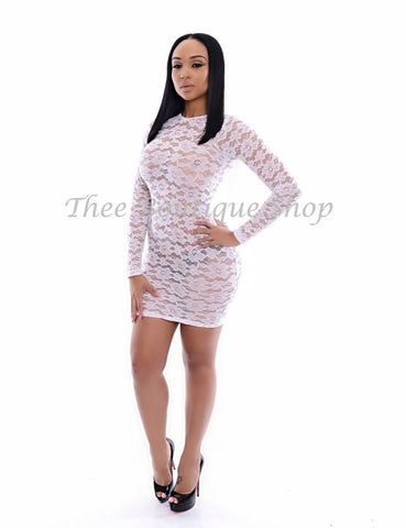 The Arizona Fringe Dress (White Lace)