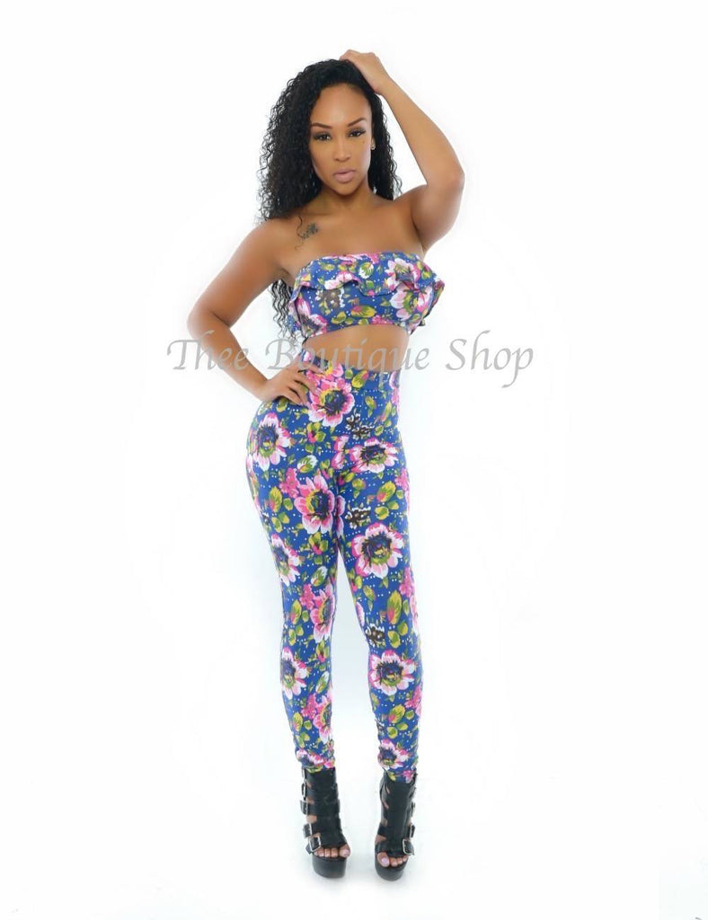 The Aloha Floral Peplum Leggings Set - Thee Boutique Shop