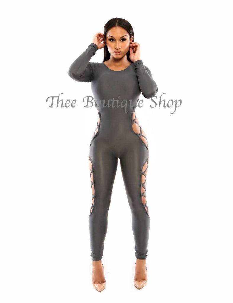 The Ashe Greis' Lace Up Jumpsuit - Thee Boutique Shop