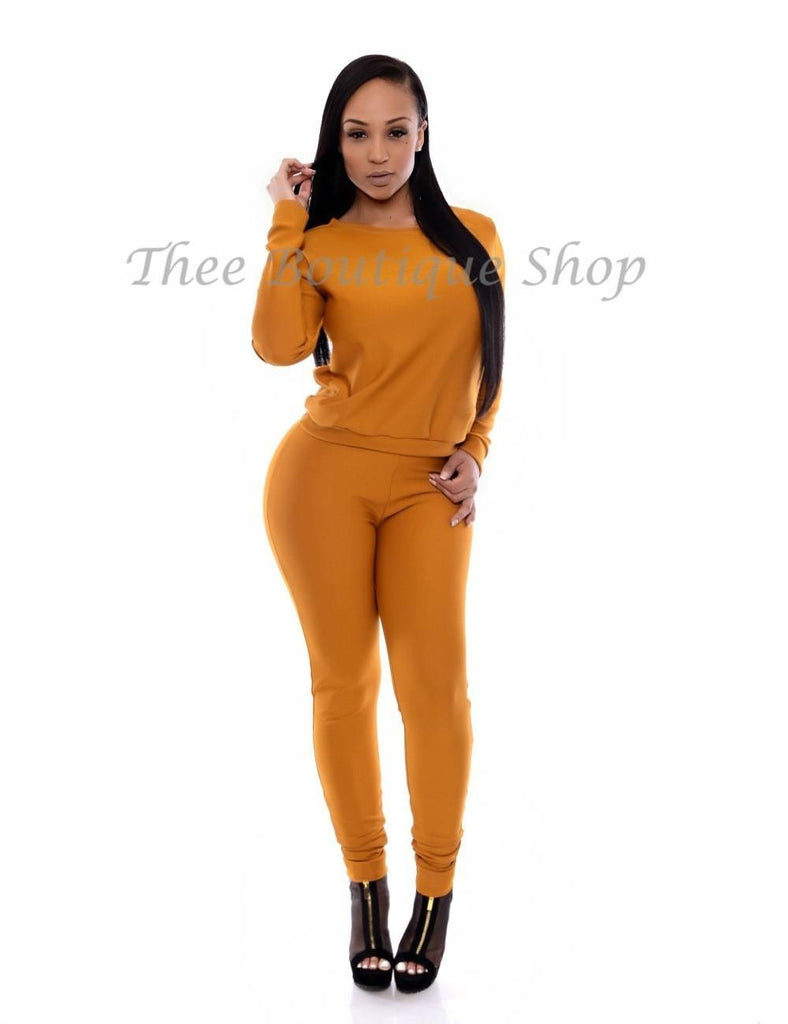 The Classic Fall Joggers Set (Golden) - Thee Boutique Shop