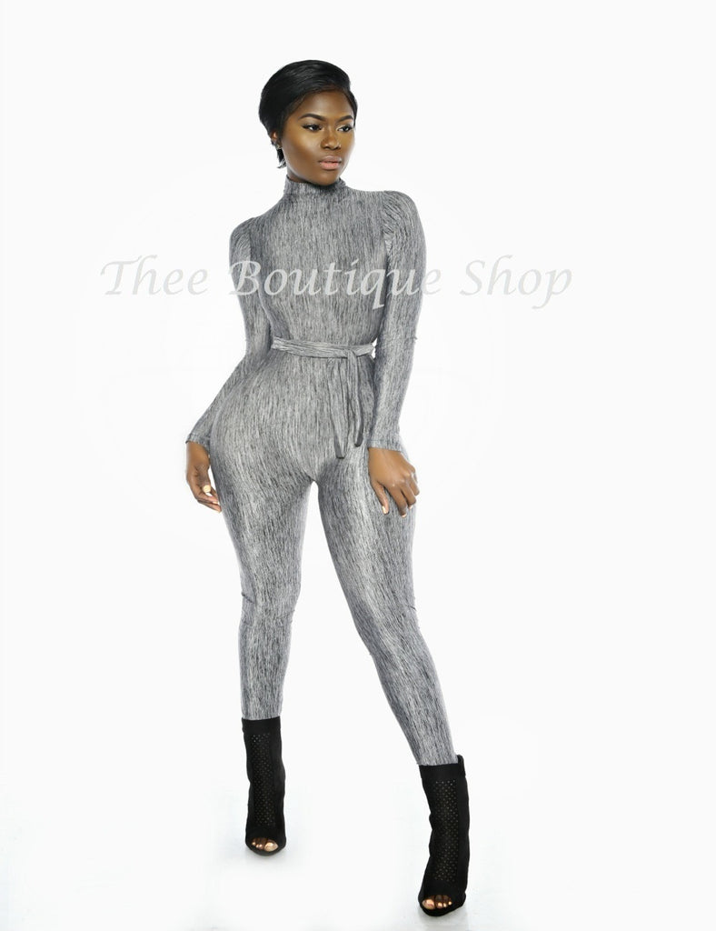 The Classic Turtleneck Jumpsuit (Grey Knit)
