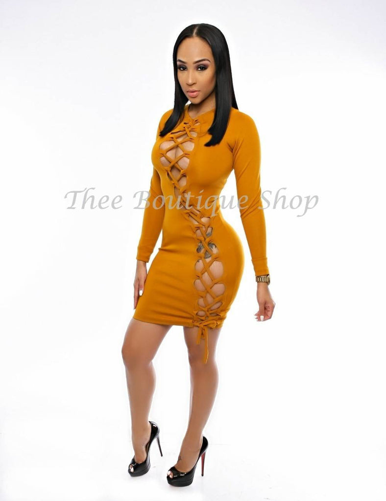 The Victorian Double Lace Up Dress (Golden)