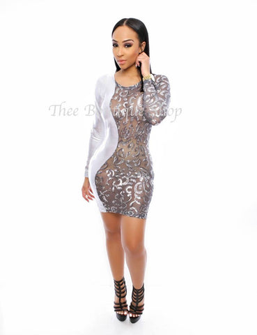 The Glitz and Glamour Harlequin Dress (Silver)