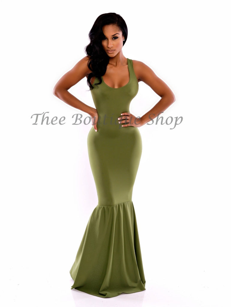 The Hollywood Mermaid Dress (Olive)
