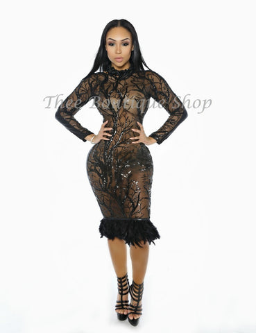 The Moulin Imperial Lace Dress (Noir)