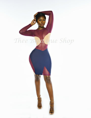 The Jokester Illusions Dress (Plum)