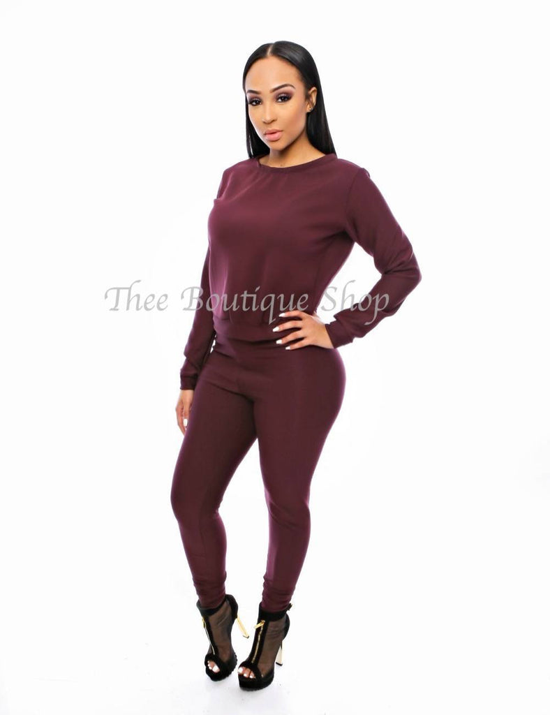 The Classic Fall Joggers Set (Maroon) - Thee Boutique Shop