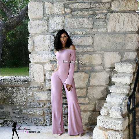 The Dulce' Off The Shoulder Jumpsuit (Blush)