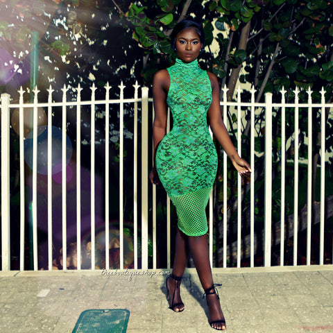 The Spring Lace Fusions Dress (Emerald)