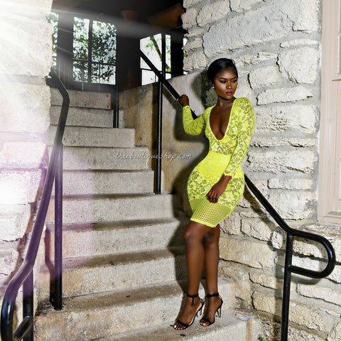 The Lace Fusions Dress (Yellow)