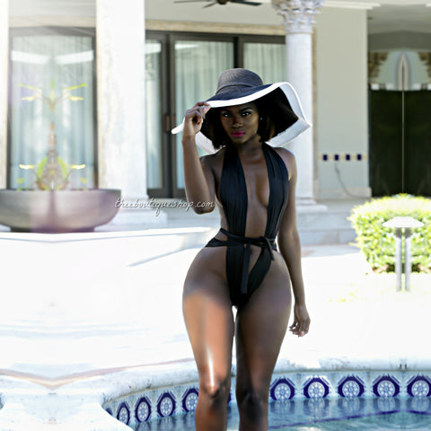 The Risque Halter Double Wrap Swimsuit (Noir)