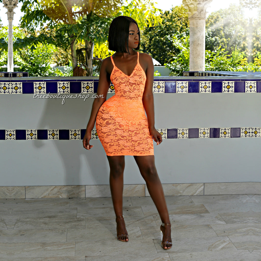 The Summer Lace Spaghetti Strap Dress (Neon Orange)