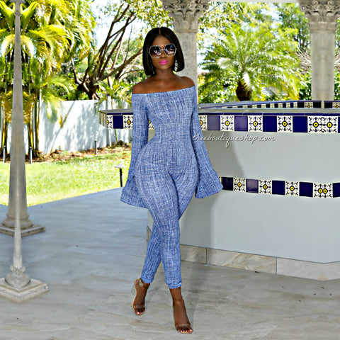 The Pomona Flare Sleeve Jumpsuit (Denim Tweed)