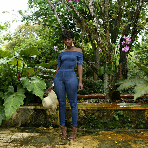 The Hampton Off The Shoulder Jumpsuit (Denim)