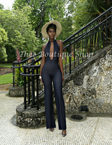 The Summer Indulgent Charleston Jumpsuit (Denim)