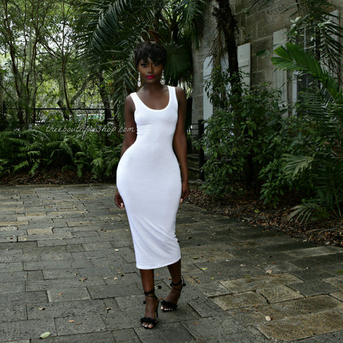 The Summer Midi Tank Dress (White)