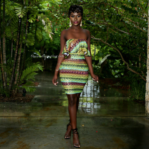 The Xiomara Tribal Peplum Dress