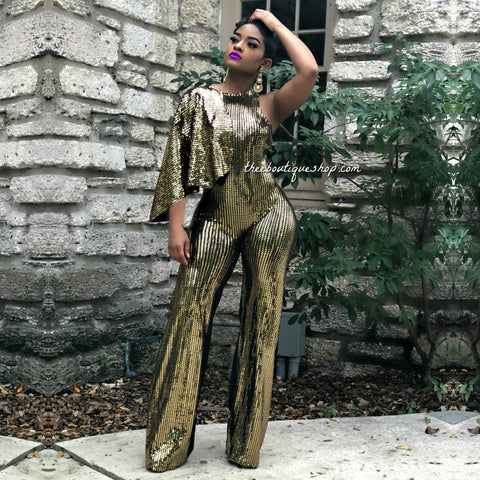The Cairo Capelet Jumpsuit (Gold)