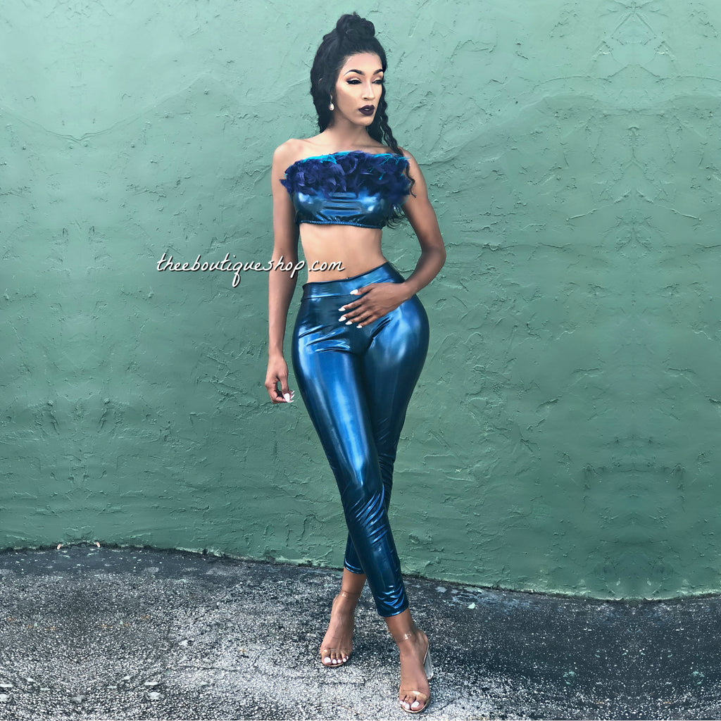 The Luxe Latex Marabou' Leggings Set (Blue)