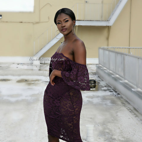 The Classic Moulin Lace Off The Shoulder Dress (Plum)