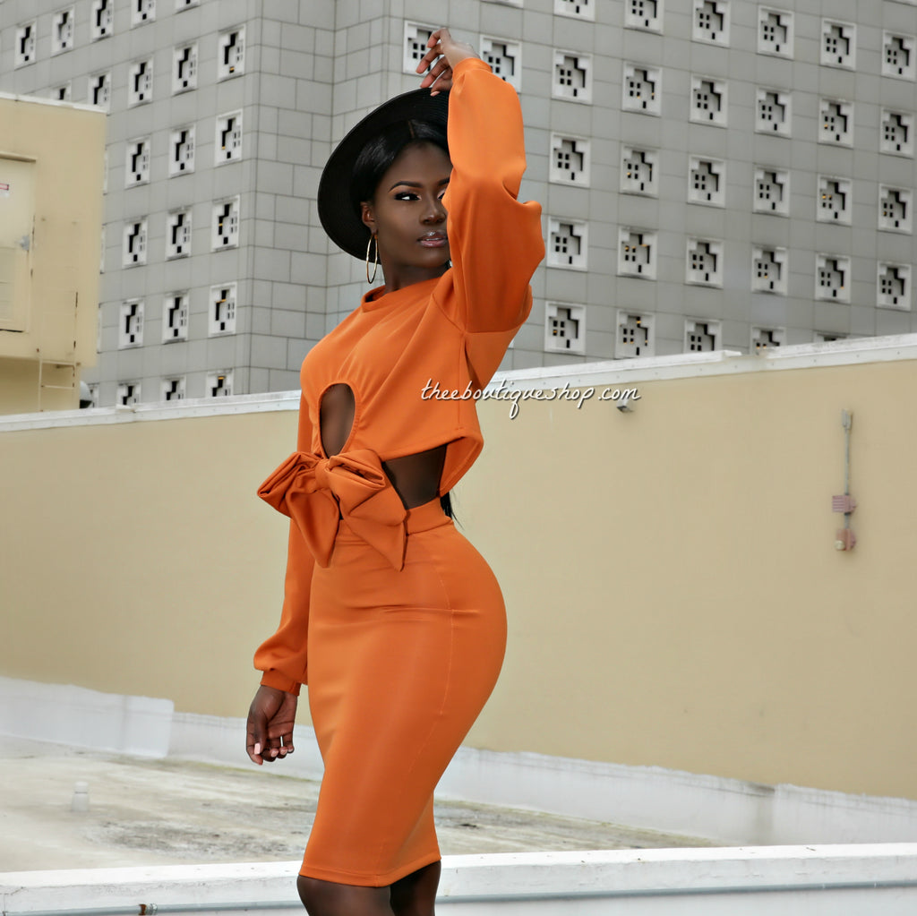 The Bella Bow Front Skirt Set (Orange)