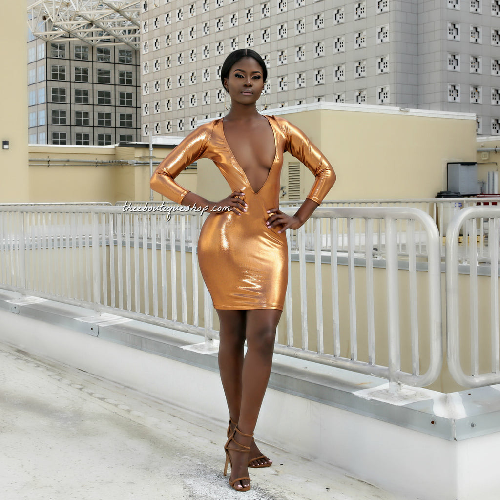 The Ultra Beam Metallic Body Con Dress (Bronze)