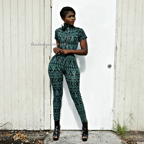 The Zuri Tribal Leggings Set (Verde)