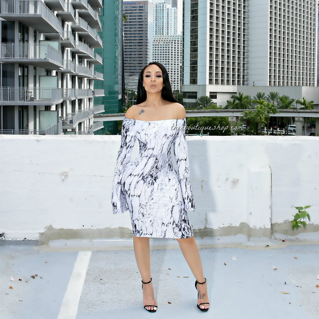 The Marble Monroe Flare Sleeve Off The Shoulder Dress