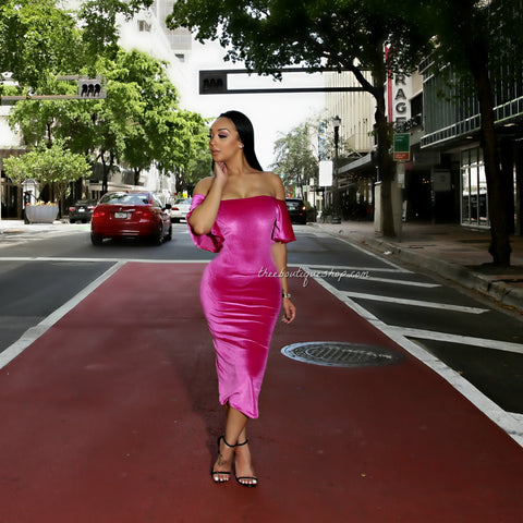 The Parisian Flare Off The Shoulder Midi Dress (Fuchsia)