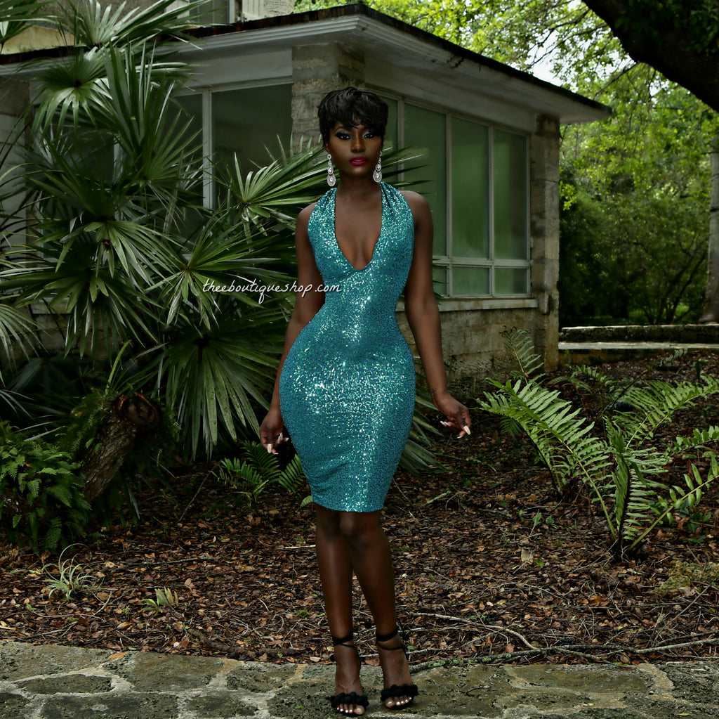 The Indulgent Sequined Halter Dress (Teal)