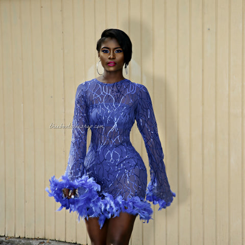 The Tour de Eiffel Feathered Dress (Bleu)