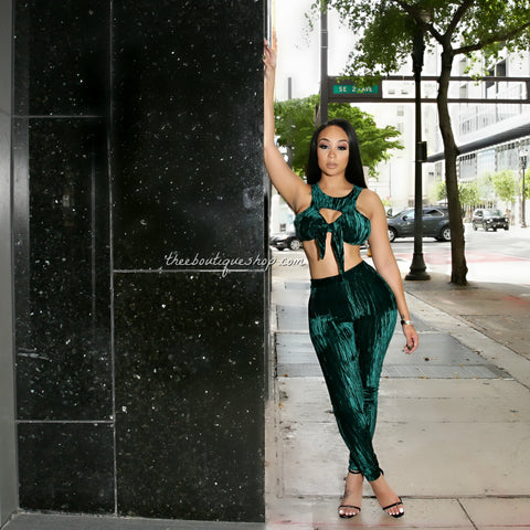 The Lush Bow Front Leggings Set (Emerald)