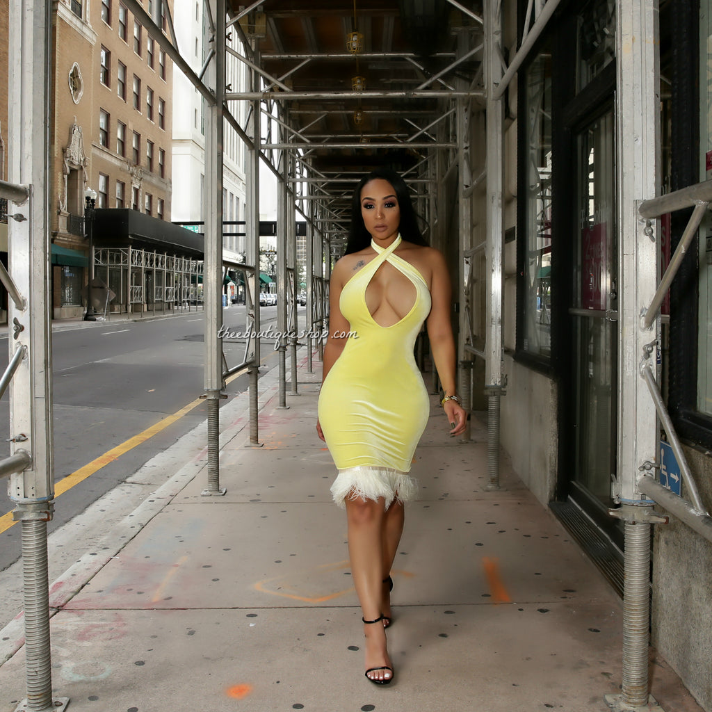 The Moulin Winter Plush Halter Dress (Canary)