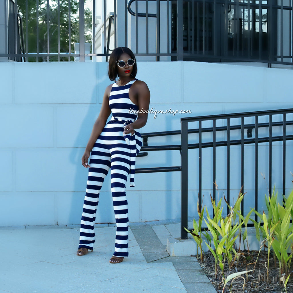 The Nautical Spring Racer Boot Cut Jumpsuit